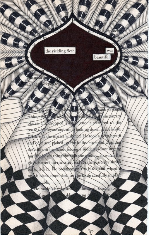 02-Yielding-Flesh-Jo-Newsham-Zentangle-Drawings-on-Recycled-Vintage-Book-Pages-www-designstack-co