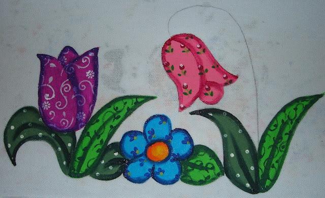 pintura em tecido country folk  passo a passo
