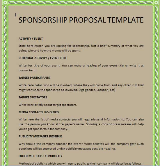 Sponsorship Packages Templates sample sponsorship proposal – Sponsorship Packages Templates
