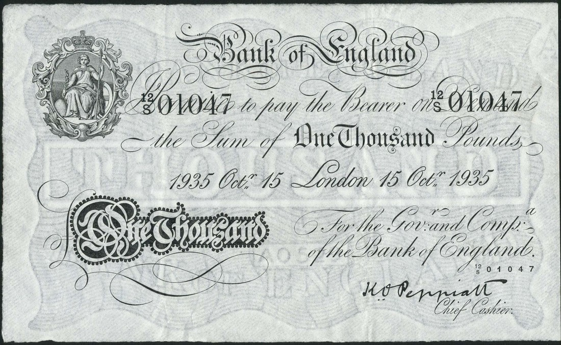 Great Britain 1000 Pound Sterling White Note 1935 Bank of