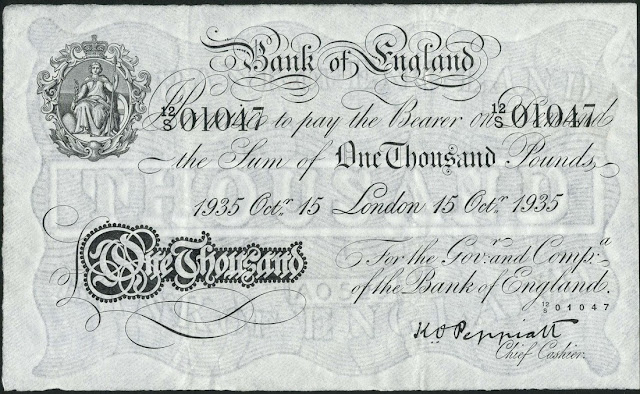 Great Britain 1000 Pound Sterling White Note 1935 Bank of England