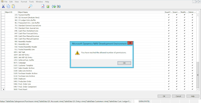dynamics nav Objects Permissions - error