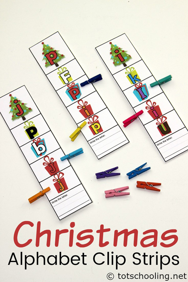FREE printable Christmas themed alphabet activity for preschoolers to practice letter recognition and letter tracing, as well as fine motor skills with clips. Fun holiday literacy activity!