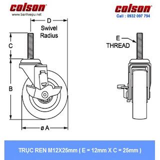 Bánh xe lắp trục ren bánh xe đẩy chịu tải trọng (82~122kg) www.banhxepu.net