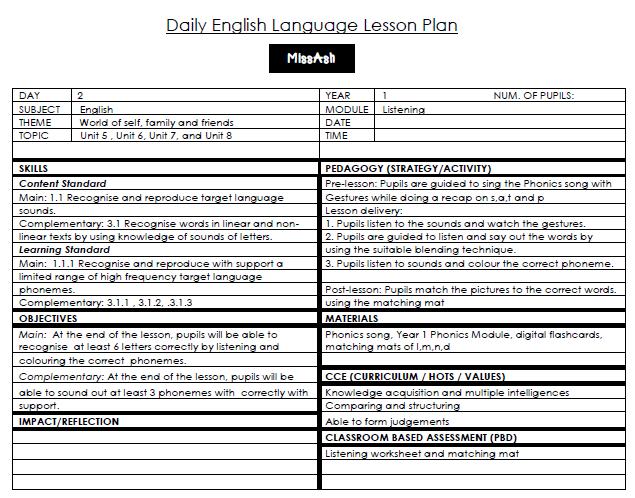 Ash The Teacher Year 1 Phonics Lesson Plan 5 Lessons