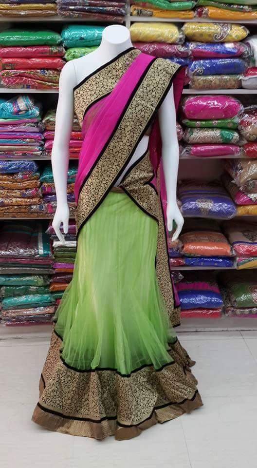 Designer lehenga Fabric net Dupatta net Blouse Zecord row silk skirt lenth 10 miter by sharmili saree