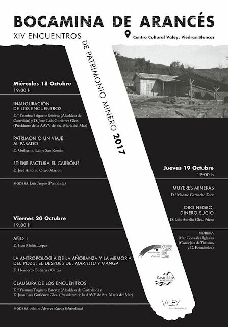 Cartel de los XIV Encuentros de patrimonio minero en Castrillón