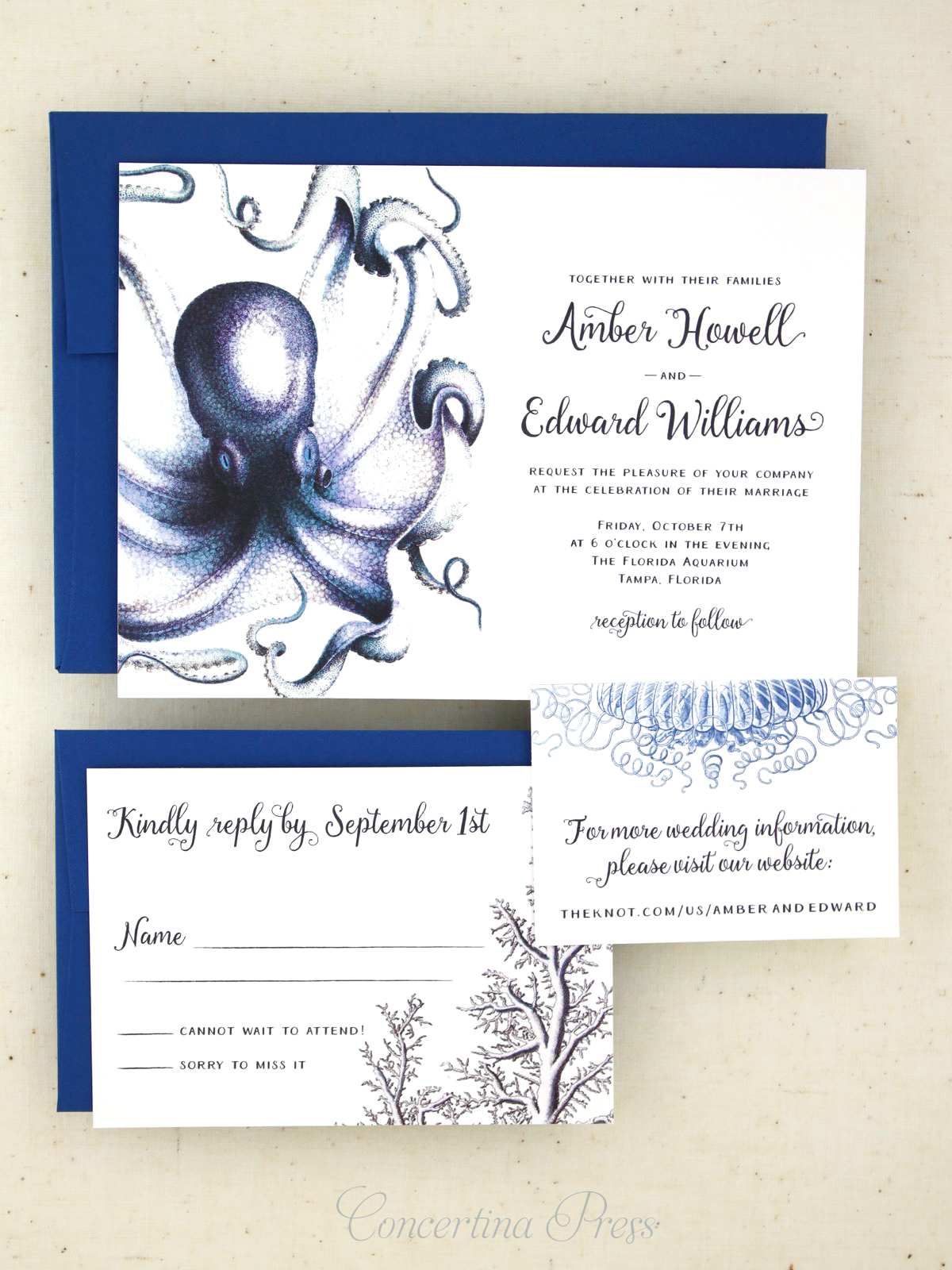 Nautical Cabinet of Curiosities Octopus Wedding Invitations from Concertina Press
