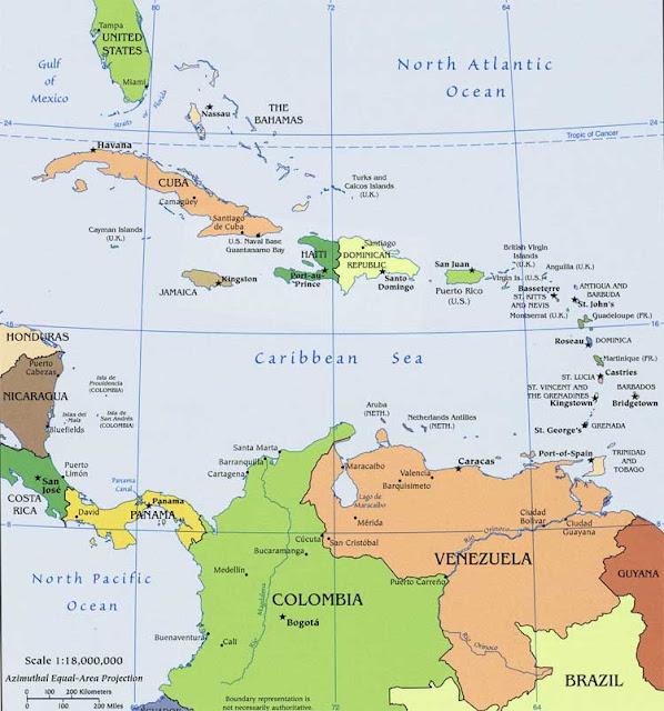 Gambar Peta politik Kepulauan Karibia