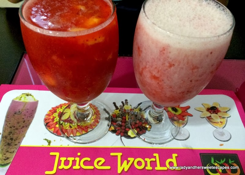 Juice World Dubai's strawberry-mango and strawberry-banana juices