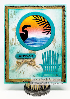 "Linda Vich Creates: Lilypad Lake Goodbye. A real ""beachy"" silhouette card created with the Lilypad Lake Bundle, Seasonal Layers Thinlits, and Tropical Chic Thinlits."