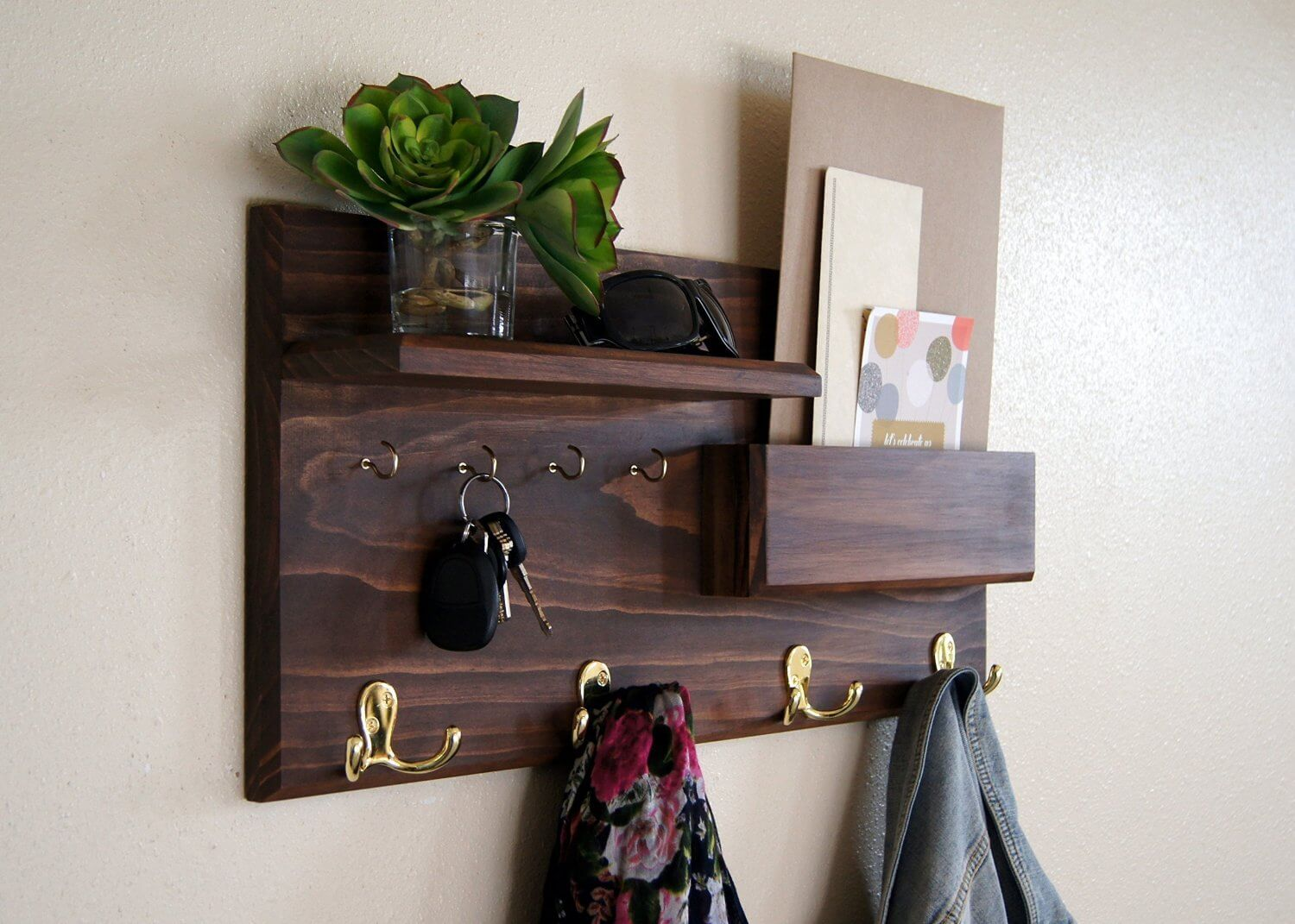 Entryway Coat Rack Mail Storage and Key Hooks