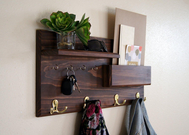 Entryway Coat Rack Mail Storage and Key Hooks