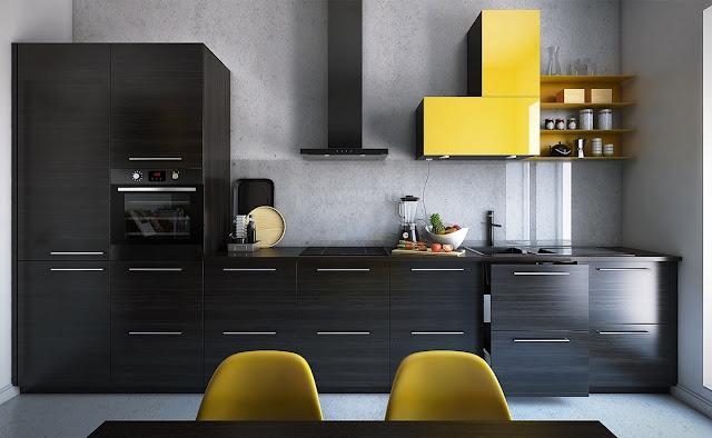 коричнево-желтая кухня