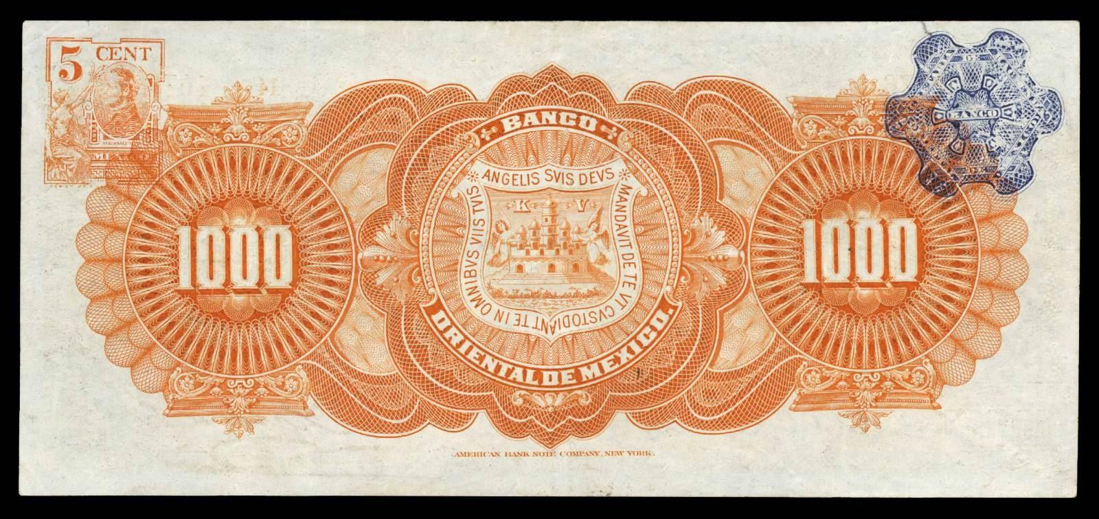 Mexico paper money 1000 Pesos banknote Banco Oriental De Mexico