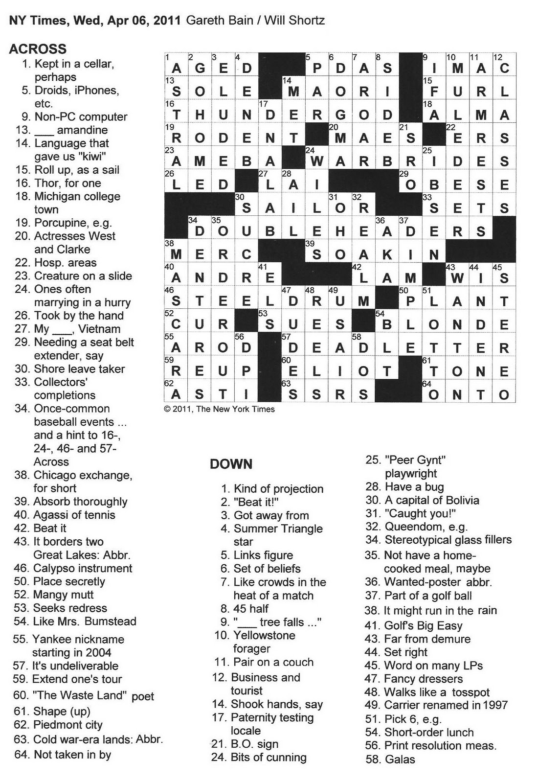 The New York Times Crossword in Gothic: 04.06.11 — Double