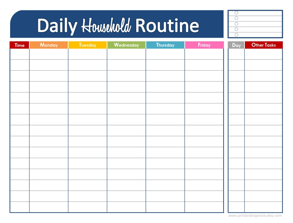 Fresh and organized your daily household routine for Weekly schedule template for kids