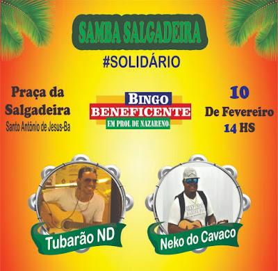 SAJ: Samba Salgadeira solidário dia 10 de fevereiro na Praça da Salgadeira