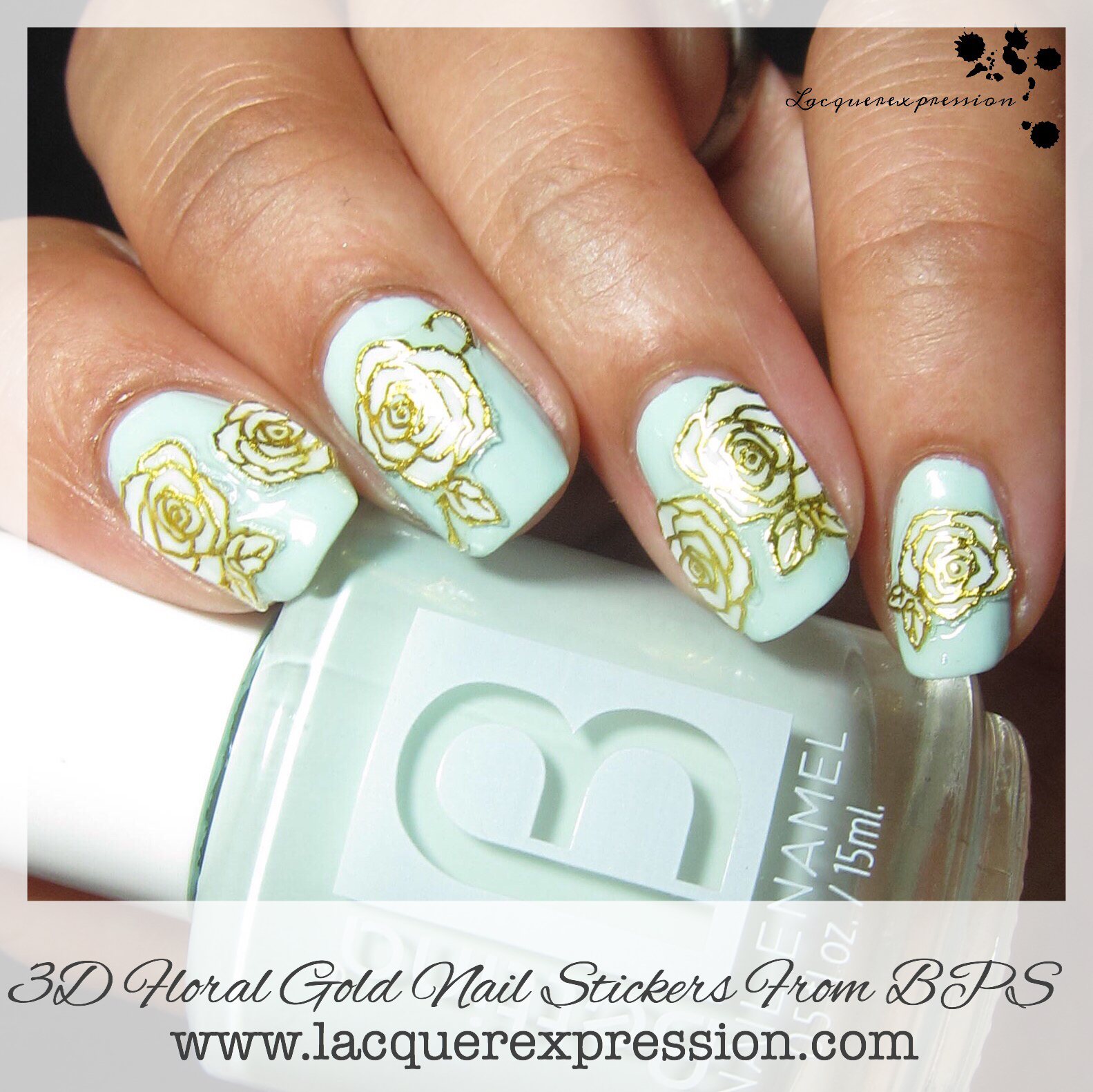 Indie Swatch and Review - Item #10945 TJ008 3D Gold Nail Stickers ...