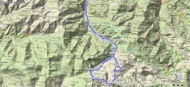 Mapa de la ruta al Cornón y Cornín por Cereizales desde Villar de Vildas