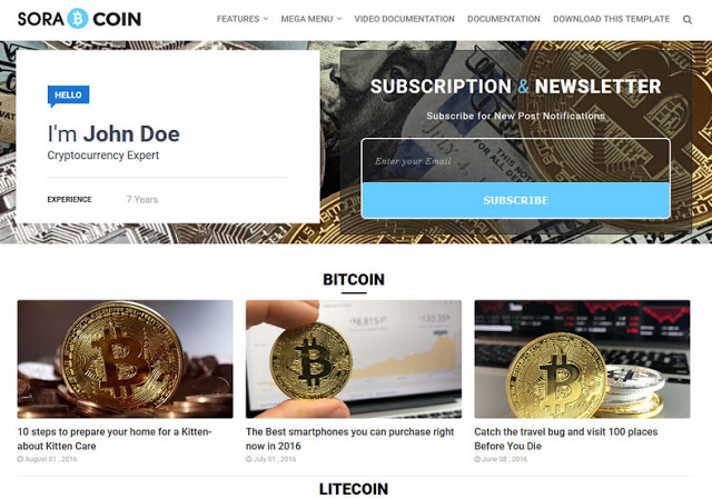 Sora Coin Blogger Template is a beautiful blogger website template designed for bitcoin c Free Download Sora Coin