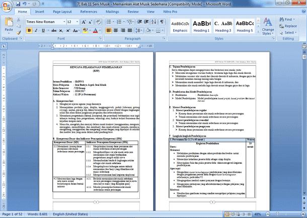 Contoh RPP Seni Budaya Kelas 7 8 9 SMP/MTs Kurikulum 2013 Revisi