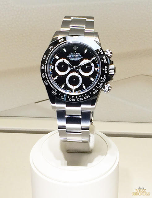 photo of Rolex display at Baselworld 2016 with Cosmograph daytona black dial