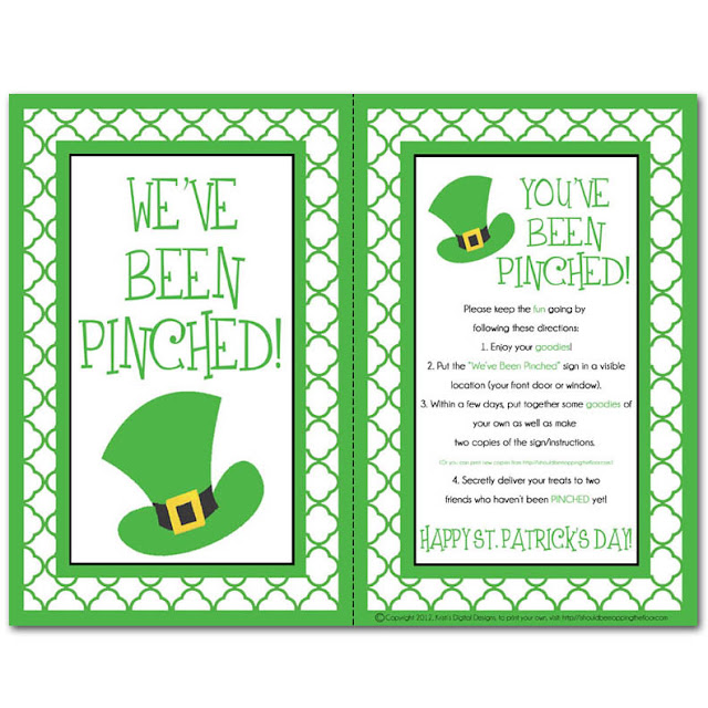 PINCHED Kit {a #FreePrintable kit from ishouldbemoppingthefloor}. It's the St. Patty's version of getting BOOed!