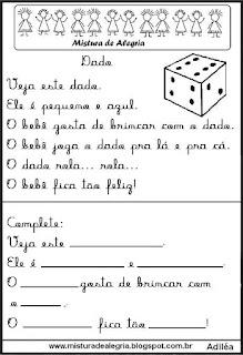 Pequenos textos para alfabetização com dado