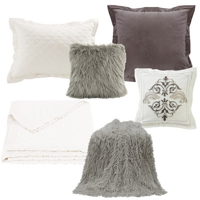 Whistler grey velvet Euro sham, Charlotte throw pillow, gray mongolian faux fur throw and pillow, vintage white linen quilt and pillow sham