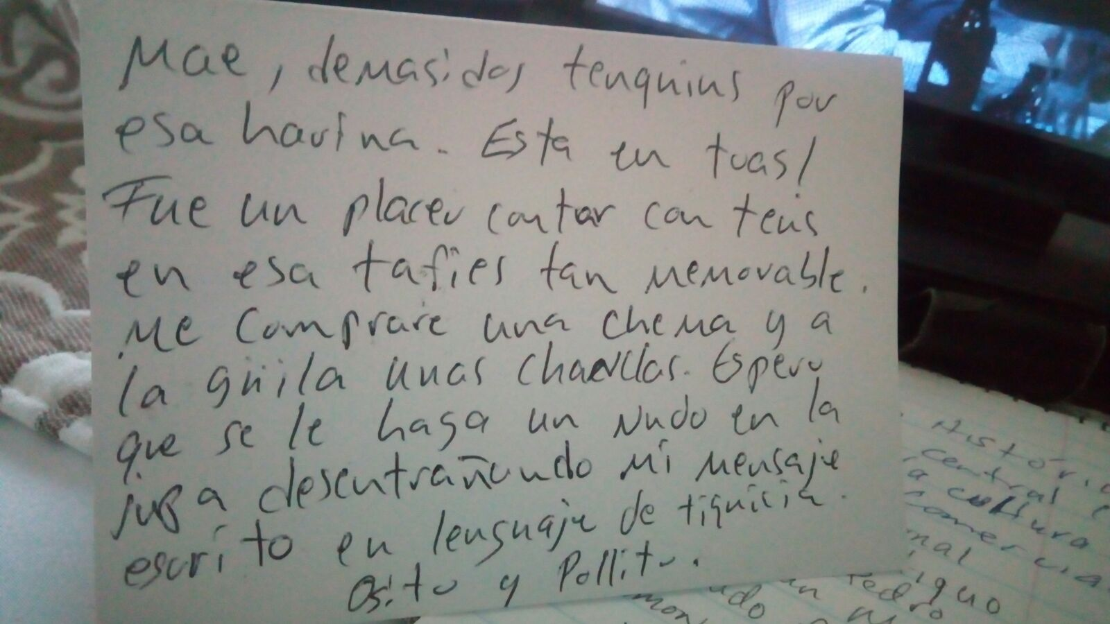 My spanish notes learn the spanish your textbook doesnt teach you im not sure what was harder deciphering his handwriting or the slang but with that said lets examine this note line by line kristyandbryce Images