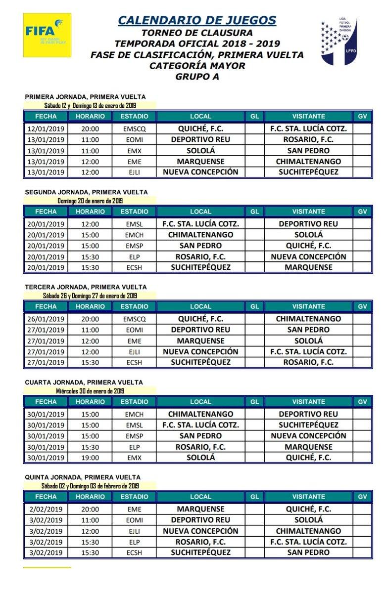 Calendario Futbol Primera Division.Calendario Del Torneo Clausura De La Primera Division Grupo A