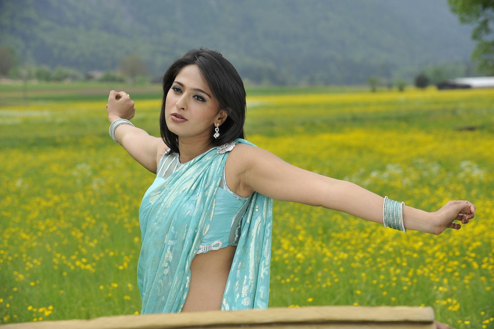 Anushka Shetty Hot Armpits Photos In Blue Saree 2016