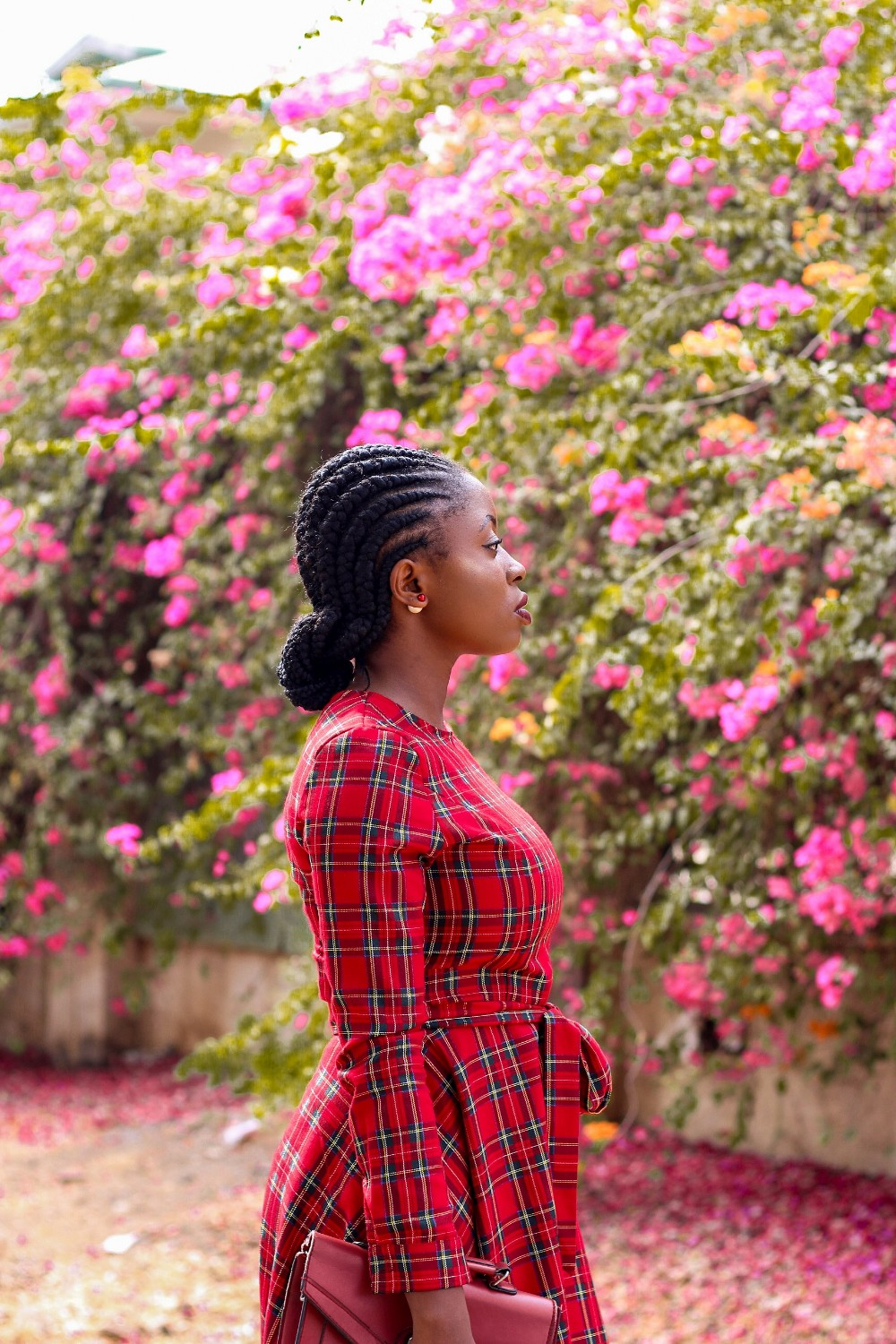 red tartan plaid midi dress styled by abuja blogger princess audu
