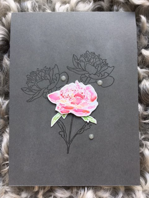 Versamark on dark cardstock with watercolored flower