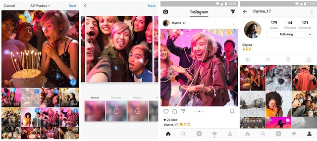 Instagram has been updated and announced that users are now able to share multiple photos and videos in one Instagram's post. That is you can add upto 10 photos and videos in one post, simply swipe the photos to see them all.