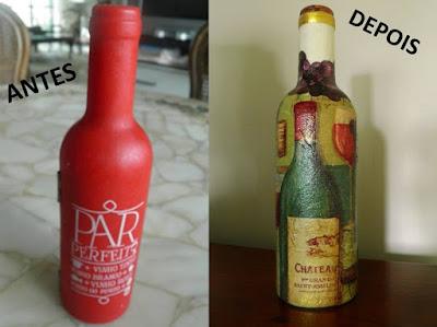 decoupagem em kit para vinho; reciclagem; decoupage