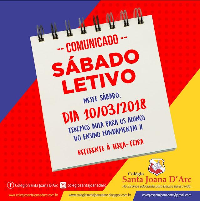 Comunicado para os pais e alunos do colégio Santa Joana D'Arc