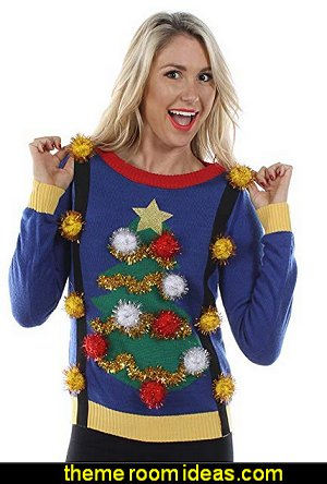 Tacky Christmas Sweater-Christmas Tree Sweater with Suspenders  ugly sweaters - Christmas ugly sweaters  - decorate yourself - womens ugly sweaters - ugly mens sweaters - embellished ugly sweaters - fun sweaters - novelty sweaters - Christmas party sweaters - quirky party sweaters -