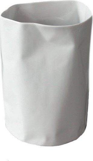 Wazon POGIĘTY biały niski FabrykaForm