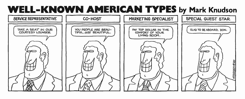 Mark Knudson cartoon, Well known American types, National Lampoon magazine 1980