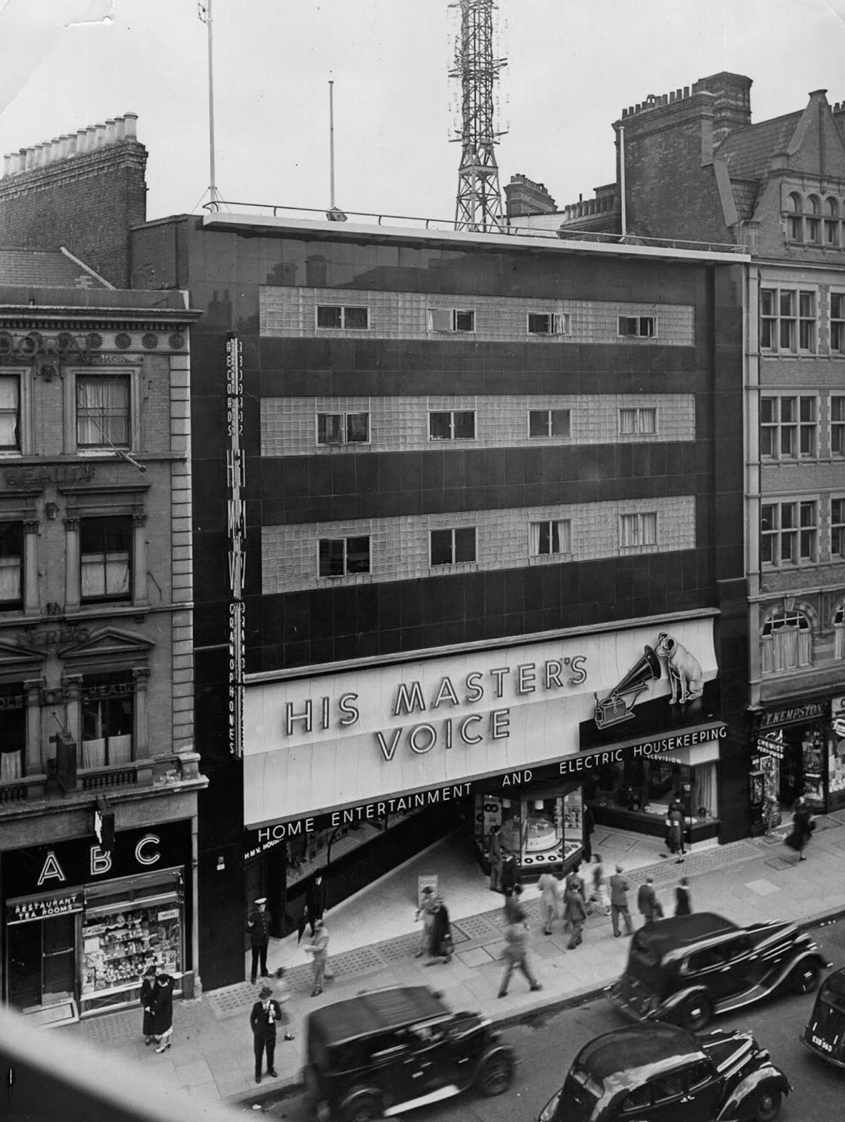 An HMV store on Oxford Street in London. 1939.