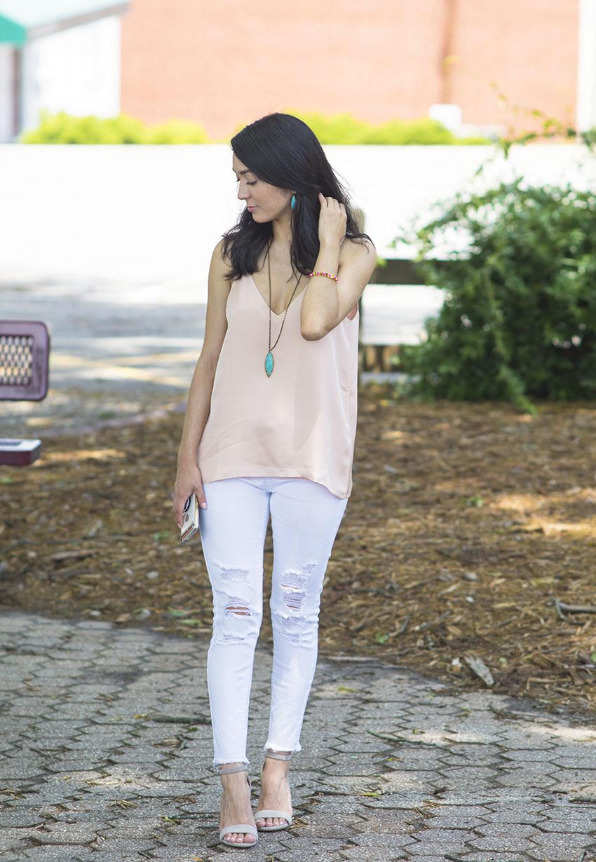 steve madden carrson sandals_grana silk v neck cami_white ripped jeans_kendrascott milla necklace and earrings