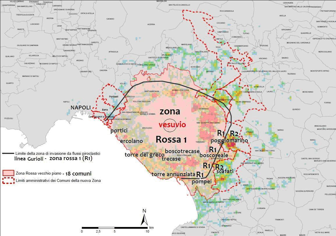Veduta d'insieme della nuova classificazione della zona rossa Vesuvio