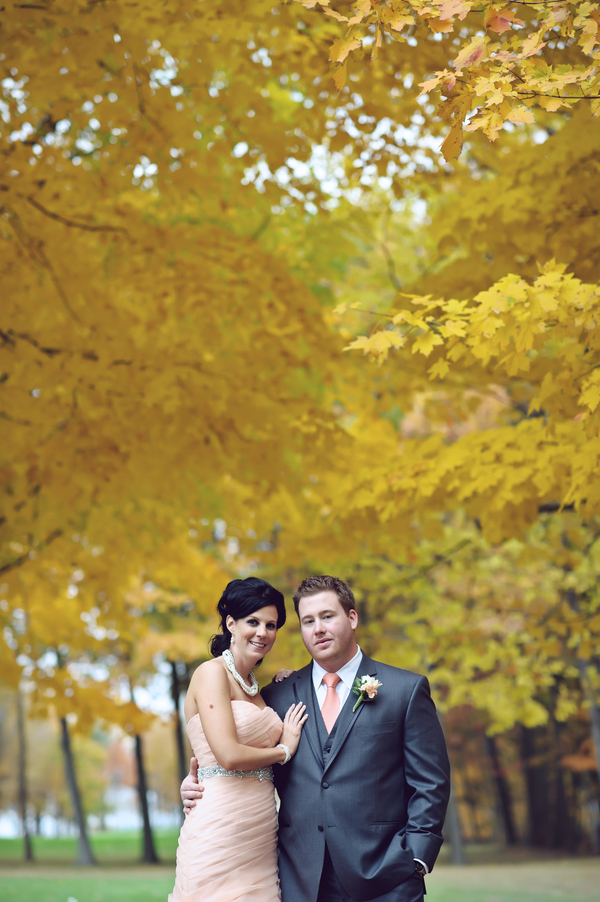 peach+green+mint+pistachio+autumn+fall+wedding+pink+dress+blush+bridal+gown+bride+crystal+sash+hair+makeup+alternative+offbeat+red+brown+purple+violet+yellow+orange+leaf+leaves+classic+sarah+kossuch+photography+5 - Salmon & Chiffon