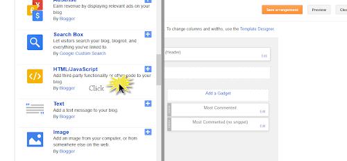 Memasukan widget ke dalam template Blogger