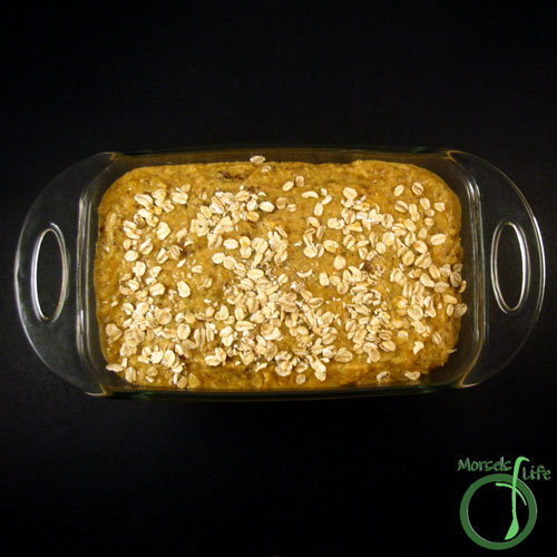 Morsels of Life - Spiced Pumpkin Bread Step 4 - Pour into loaf pan, and then top with oatmeal. Bake at 350F until done, approximately 55 minutes.