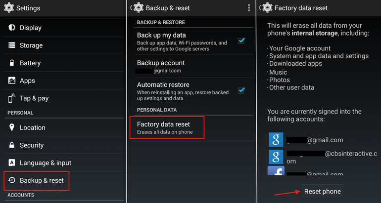 Hard Reset Sony Xperia V LT25i using menu
