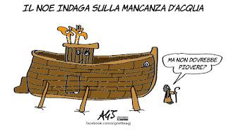 noe, acqua, roma, acea, arca, siccità, vignetta, satira