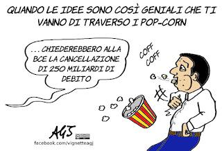 popcorn, renzi, debito, contratto di governo, BCE, euro, economia, satira, vignetta
